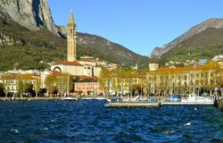 In windy sunny autumn day in Lecco bay. Stock Image