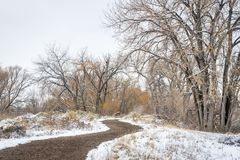 Windy trail in fall or winter scenery. In one of natural areas in Fort Collins, Colorado along the Poudre River converted from gravel quarry royalty free stock photography
