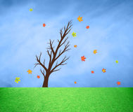 Windy tree silhouette with autumn season leaves Stock Photo