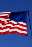 Windy us flag close up Royalty Free Stock Images