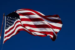 Windy us flag Stock Photography