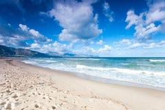 Windy waves of Tyrrhenian sea. Alcamo marina, Sicily, Italy Royalty Free Stock Image
