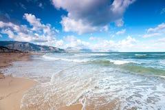 Windy waves of Tyrrhenian sea. Alcamo marina, Sicily, Italy Stock Photo