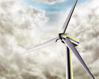 Windy wind turbine Royalty Free Stock Images