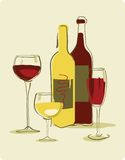 Wine. Different wine bottles and glass of wine Royalty Free Stock Images