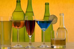 Wine. A wine glass with bottle Stock Photos