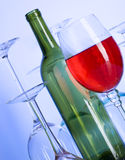 Wine. Blue glass. Creative background with glasses Royalty Free Stock Image
