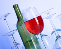 Wine. Blue glass. Creative background with glasses Stock Images