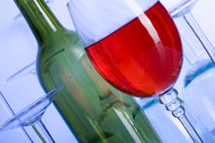 Wine. Blue glass. Creative background with glasses Royalty Free Stock Photos