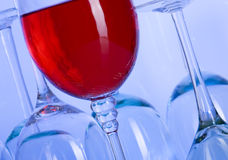 Wine. Blue glass. Creative background with glasses Royalty Free Stock Photo