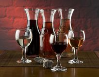 Wine. Glasses and jugs with wine Royalty Free Stock Photos