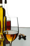 Wine. Bottle, glass of wine and fuse on a white background Stock Image