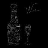 Wine. Stylized black background with inscription wine Royalty Free Stock Image