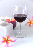 Wine. Red wine with Candle,isolated on white backgrounds Stock Photo