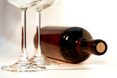 Wine. A bottle of red wine an two glasses Stock Photo