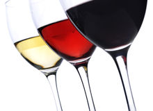 Wine. Three glass of wine over white background Stock Image