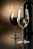 Wine. In glasses and a bottle Royalty Free Stock Images