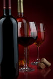 Wine. In glasses and a bottle Stock Image