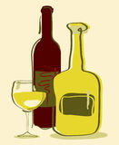 Wine. Different wine bottles and glass of wine Stock Photos