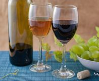 Wine. Composition of red and white royalty free stock image