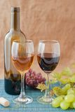 Wine. Composition of red and white stock photo
