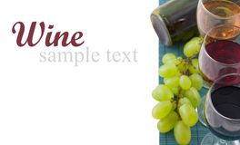 Wine. Glasses of white and rose wine over white (with sample text stock images