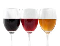 Wine. Three Colors of Wine on white Stock Photography