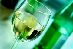 Wine. One glass of white wine stock photo