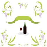 Wine. Grape, leaves, vines and bottle of wine Royalty Free Illustration