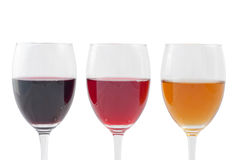 Wine. Three Colors of Wine. Isolated on white background, with clipping path included stock photos