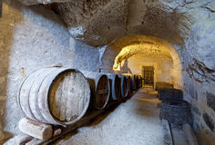 Wine. Ancient wine cellar in the tuff Stock Photography