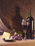 Wine. Still life with wine barrel, grapes and vine Royalty Free Stock Photo