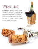 Wine. Red glass of wine, bottle, cork and corkscrew on white background Royalty Free Stock Images