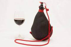 Wine. Bottle made ​​of goatskin Stock Image