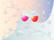 Wine. Vector image of glasses with wine with snowflakes and patterns Royalty Free Stock Images