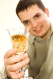 Wine. The young man drinking wine Royalty Free Stock Photo