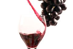 Wine. Red wine with a bottle on a withe background Stock Photography