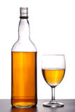 Wine. Champagne in a wine bottle and glass on isolated background with clipping path Stock Photos