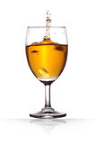 Wine. Champagne in a wine glass on isolated background with clipping path Stock Images