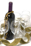 Wine. Bottle,glasses and golden ribbon Royalty Free Stock Photo
