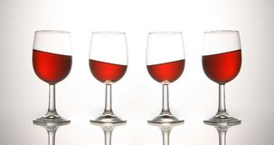 WINE. Bumper, crossways, footed glass, gravity, level, magnetism red Royalty Free Stock Photography