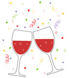 Wine. Vector illustration of glasses with champagne on falling confetti background Stock Images