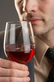 Wine. Man taking a smell at a glass of red wine Royalty Free Stock Images