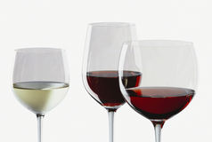 Wine. White wine in glass, red wine in Bordeaux & Burgundy glass Stock Photo
