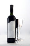Wine. A bottle of wine with two glasses Royalty Free Stock Photo