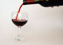 Wine. Glas and bottle Of Wine Stock Photo