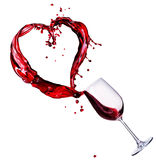 Wine abstract Splash. Glass of Red Wine Abstract Heart Splash