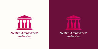 Wine Academy Abstract Vector Sign, Emblem or Logo Template. University or School Building with Wine Bottles Columns. Version and on Purple Background vector illustration