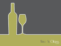Wine advertisement background design with bottle and glass Royalty Free Stock Photography