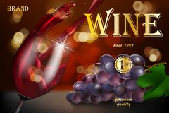 Wine advertising banner, glass bottle with grape on red background with golden text. Transparent wine glass with splash. For restaurant design. 3d vector royalty free illustration
